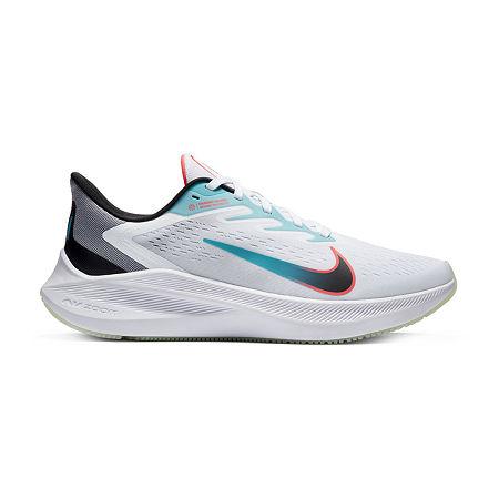 Nike Zoom Winflo 7 Mens Running Shoes, 11 Medium, White