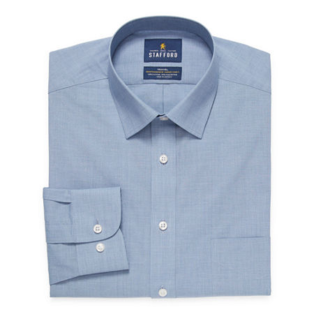 Stafford Mens Wrinkle Free Stain Resistant Stretch Super Dress Shirt, 16.5 36-37, Blue