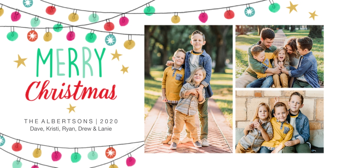 Christmas Photo Cards Flat Matte Photo Paper Cards with Envelopes, 4x8, Card & Stationery -Merry Lights Christmas Photo Collage by Hallmark