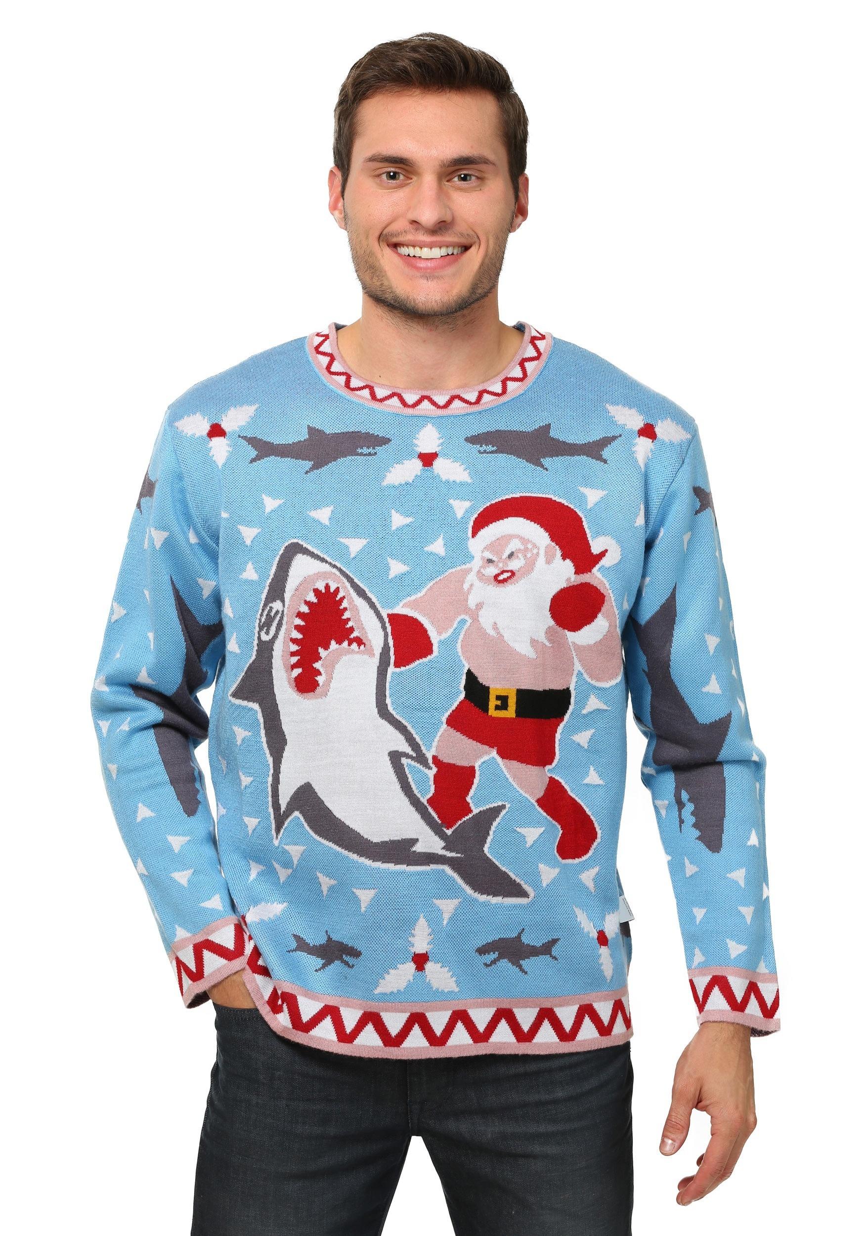 Men's Santa vs Shark Ugly Christmas Costume Sweater
