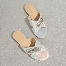 Jeweled Decor Schlangenhaut Muster Cross Strap Sliders