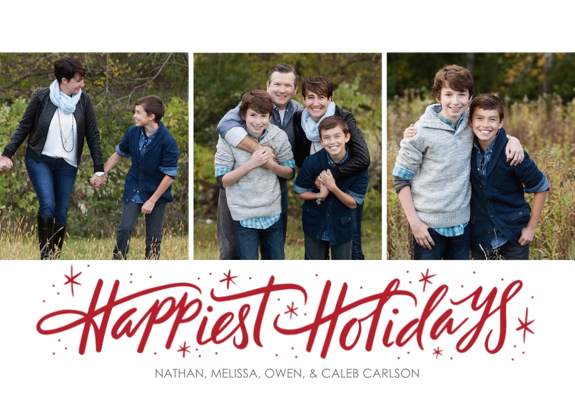 Christmas Photo Cards 5x7 Cards, Premium Cardstock 120lb, Card & Stationery -Happiest Holidays