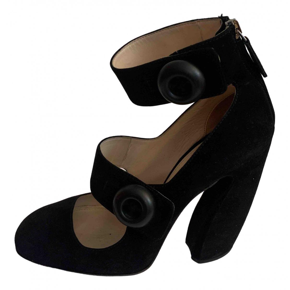 Prada Mary Jane Black Suede Heels for Women 37 EU