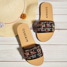 Toddler Girls Open Toe Tweed Slides