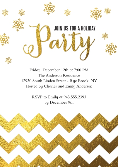 Christmas & Holiday Party Invitations 5x7 Cards, Standard Cardstock 85lb, Card & Stationery -Holiday Party Gold Chevron