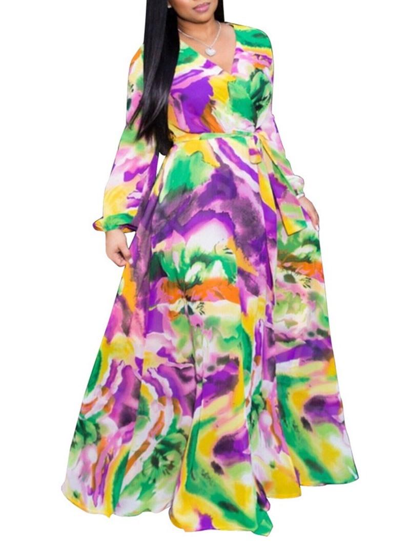 Ericdress Expansion Chiffon Floor-Length V-Neck Stripe A-Line Dress