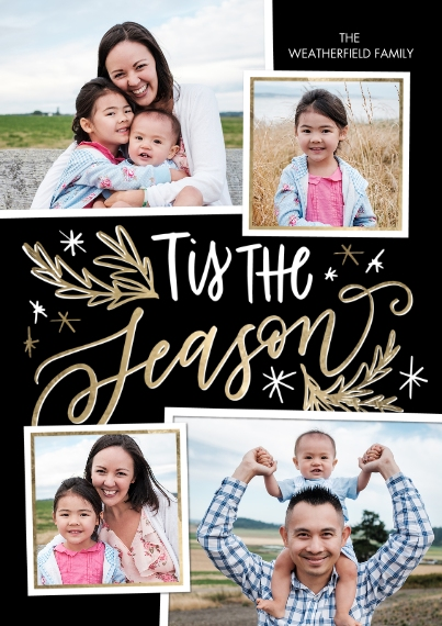 Christmas Photo Cards 5x7 Cards, Premium Cardstock 120lb with Scalloped Corners, Card & Stationery -Christmas Tis the Season Stars by Tumbalina
