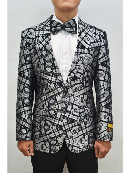 Alberto Nardoni Men Floral Fancy Sport Coat Bow Tie Prom Black-Silver