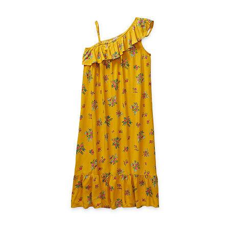 Peyton & Parker Little & Big Girls One Shoulder Sleeve A-Line Dress, Medium (10-12) , Yellow