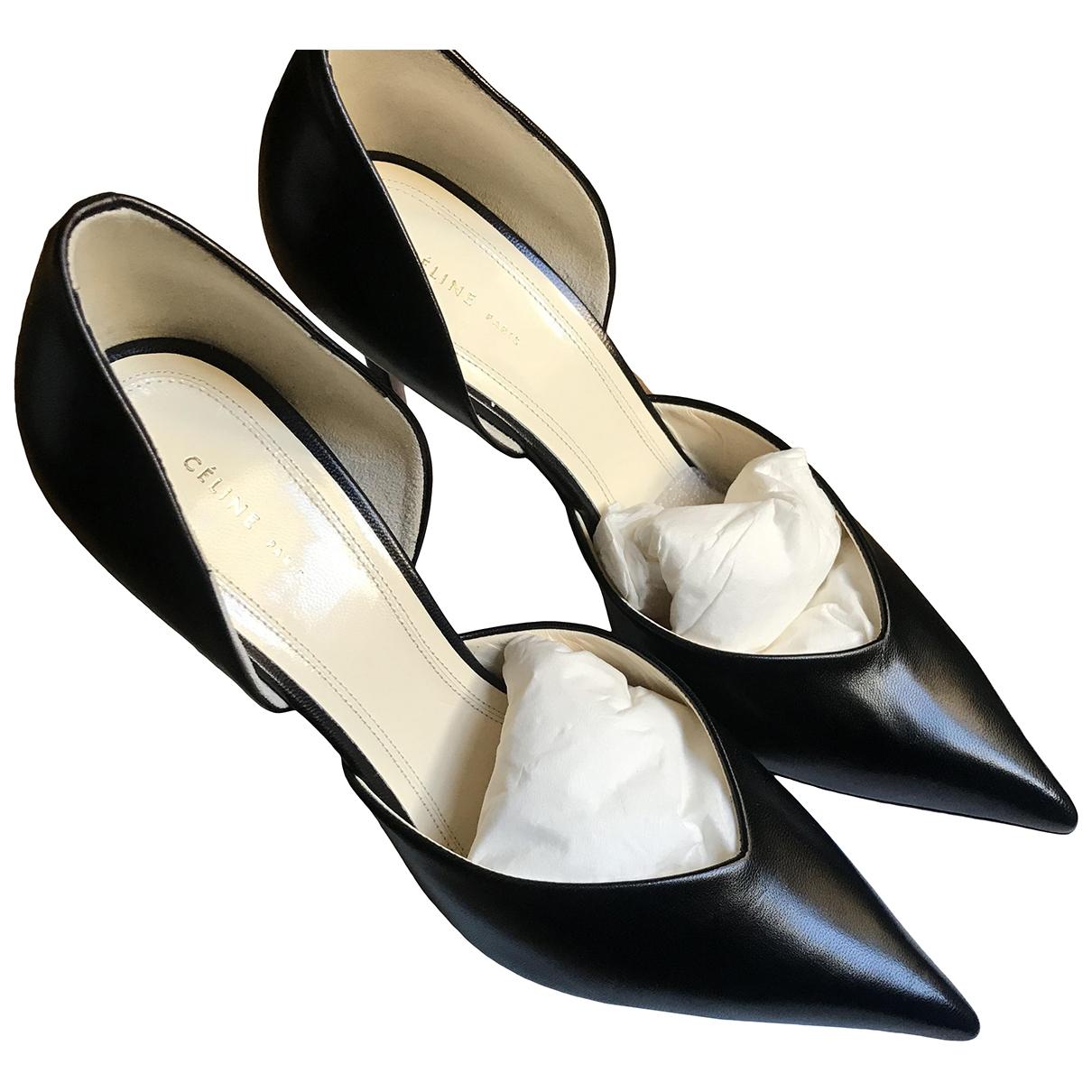 Celine \N Black Leather Heels for Women 37 EU