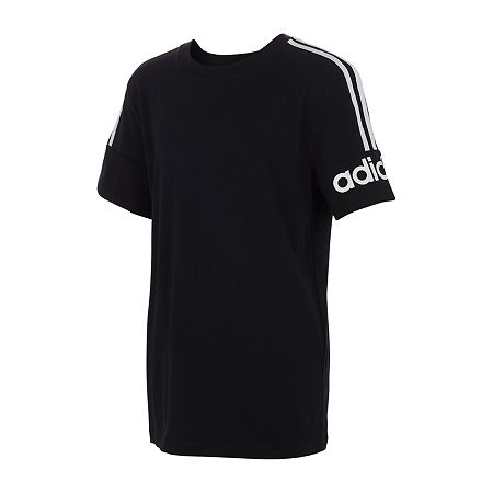 adidas Big Boys Crew Neck Short Sleeve Graphic T-Shirt, Medium (10-12) , Black