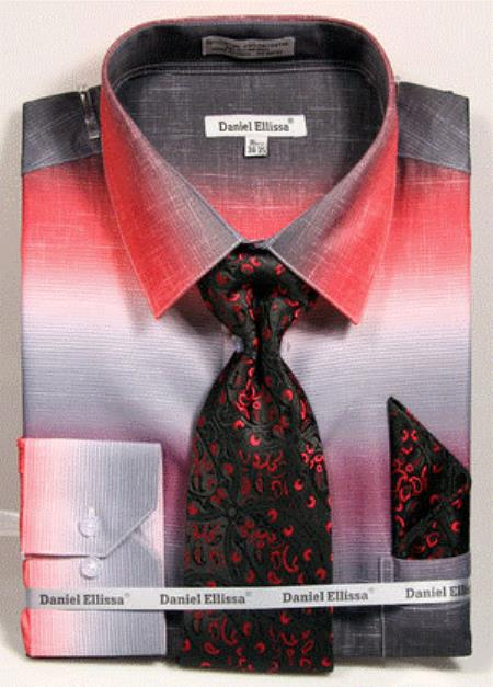 Mens Red Colorful Dress Shirts