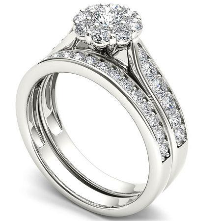 Womens 1 CT. T.W. Genuine White Diamond 14K Gold Bridal Set, 7 , Multiple Colors
