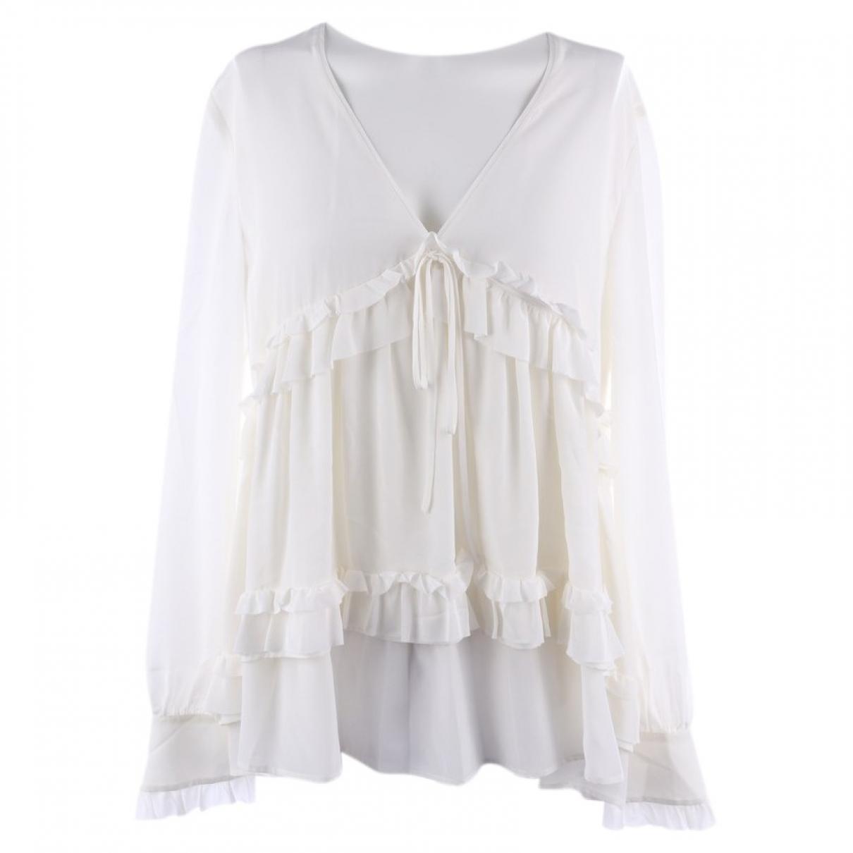 Sly010 - Top   pour femme en soie - blanc