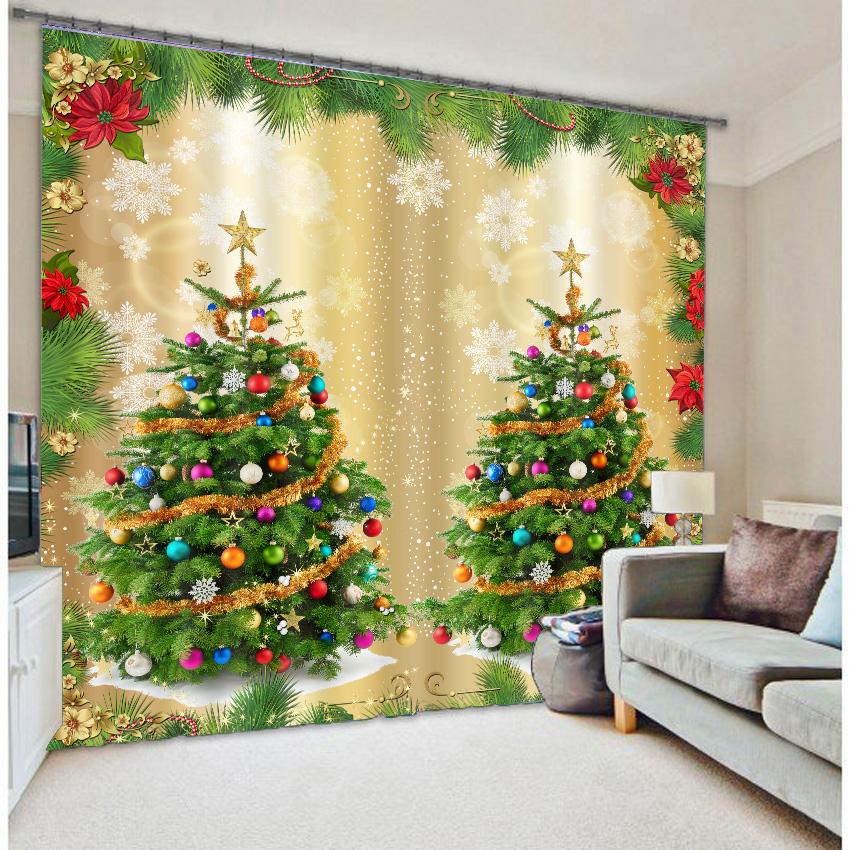 3D Wonderful Christmas Trees Printed Polyester Modern Style Blackout Custom Christmas Curtain