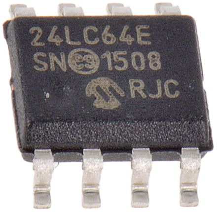 Microchip 24LC64-E/SN, 64kB EEPROM Memory, 900ns 8-Pin SOIC Serial-2 Wire, Serial-I2C (20)