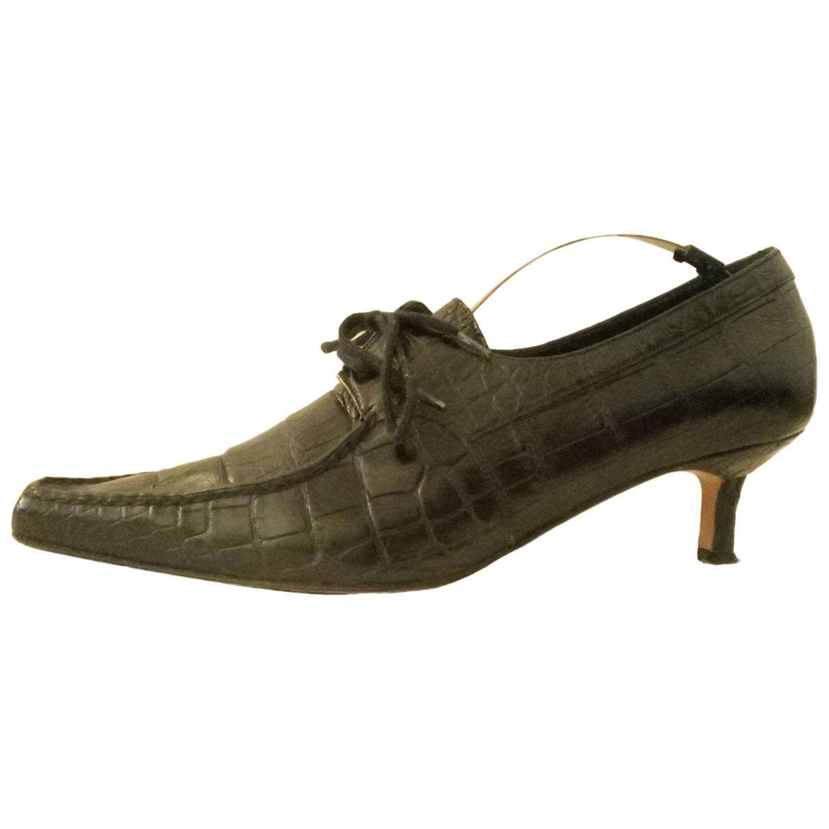 Manolo Blahnik N Black Crocodile Heels for Women 40 IT