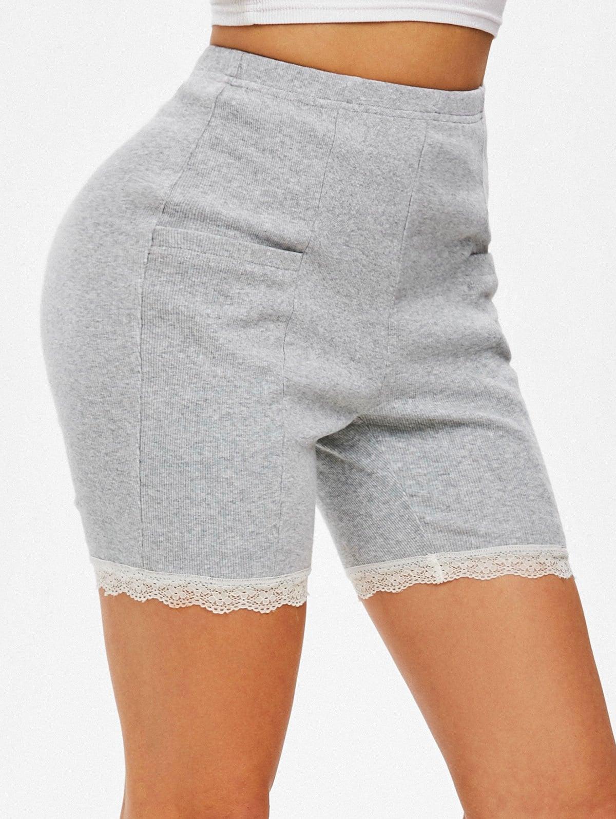 High Waisted Lace Trim Mini Shorts