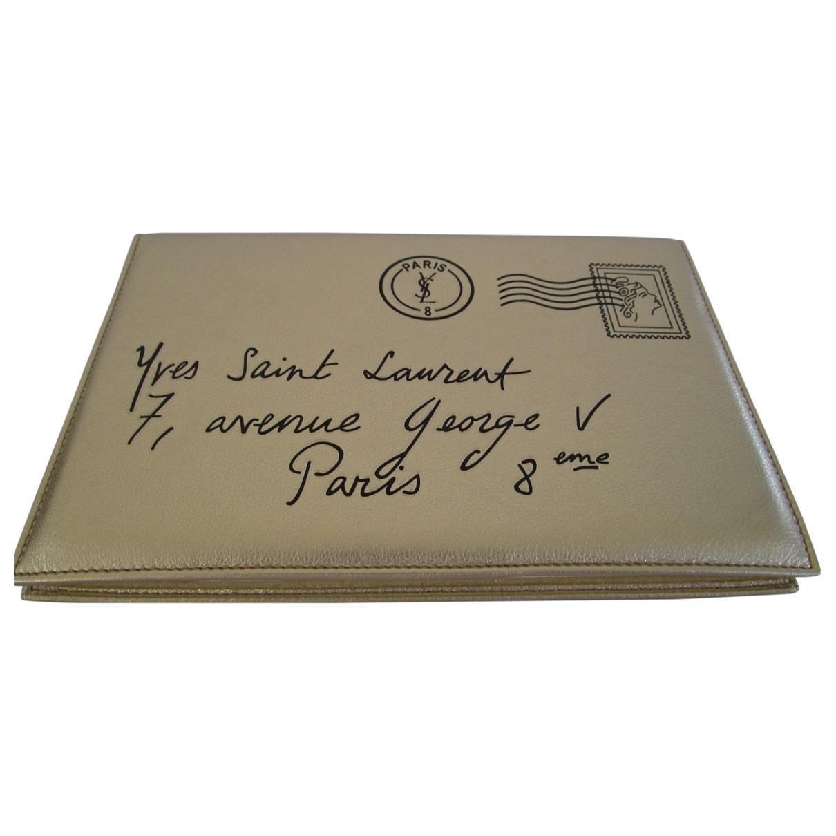 Yves Saint Laurent - Petite maroquinerie   pour femme en cuir - dore