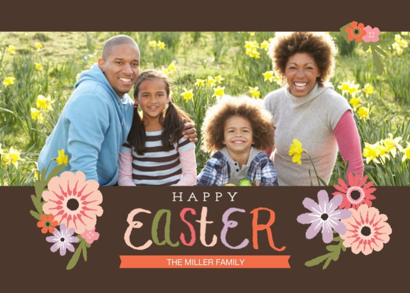 Easter Cards 5x7 Folded Cards, Premium Cardstock 120lb, Card & Stationery -Happy Easter Script