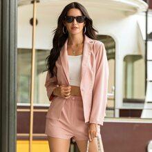 Baby Pink Knopfe  Einfarbig Elegant Zweiteiliger Anzug