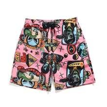 Shorts mit Monster und Buchstaben Muster