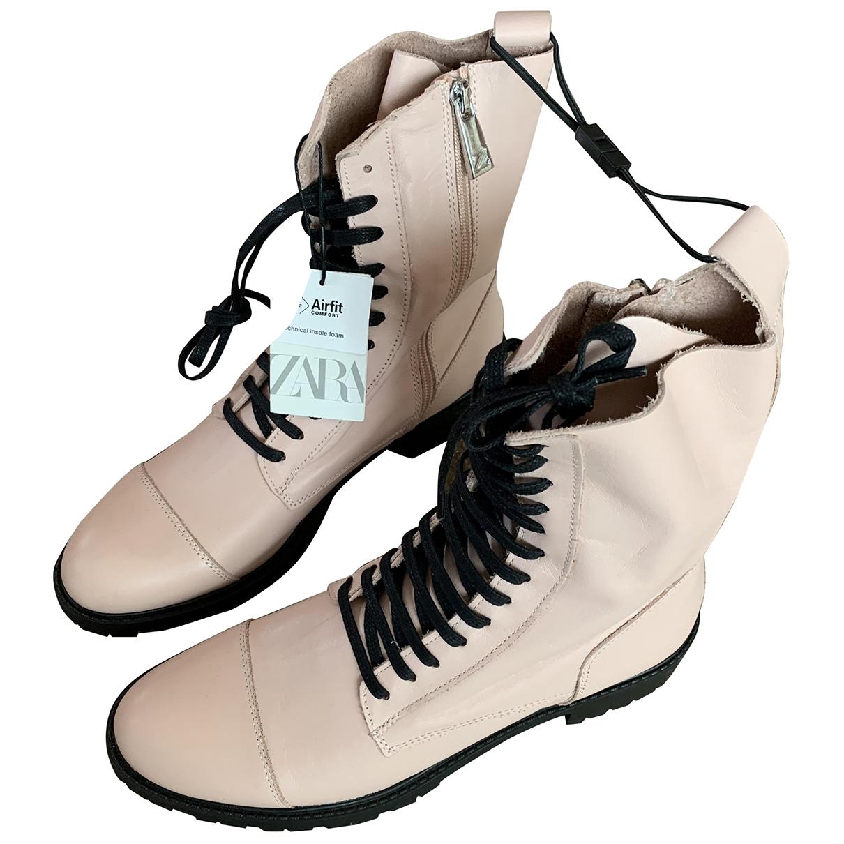 Zara - Bottes   pour femme en cuir - rose