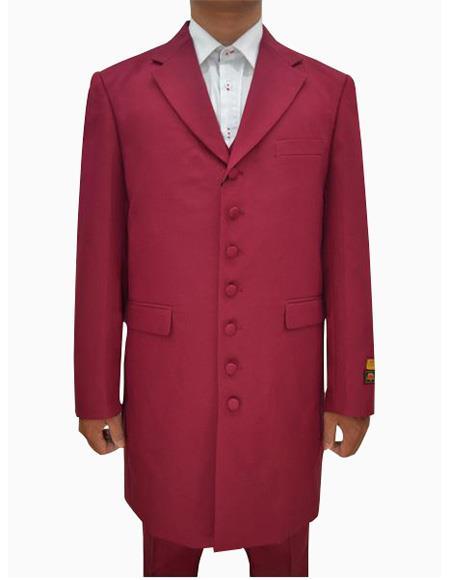 Mens Burgundy  Seven Button Zoot Suits