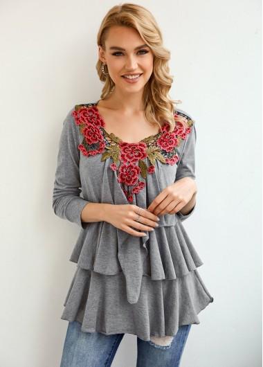 Flower Applique Layered Ruffle Hem T Shirt - 3XL