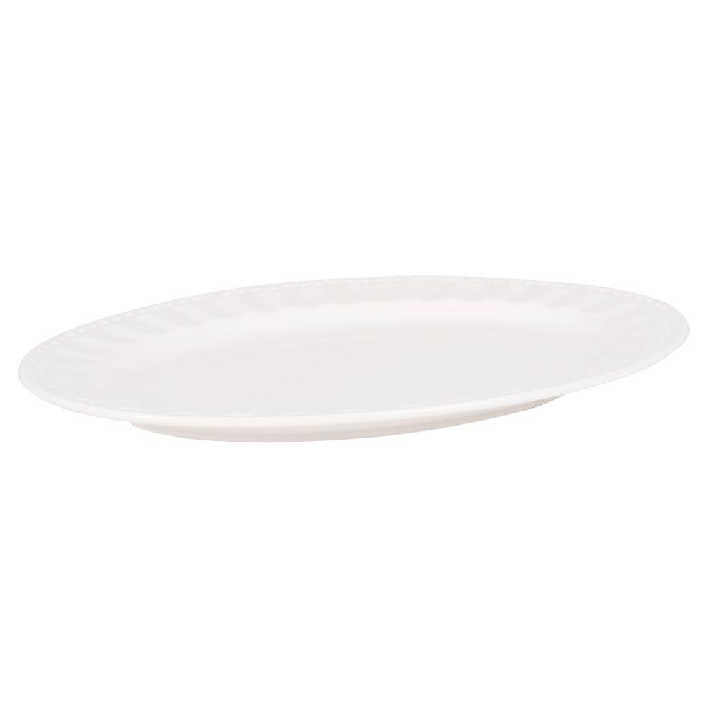 Servierplatte aus Porzellan, weiss