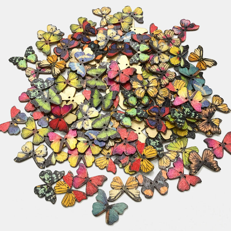 50 Pcs Retro Color Butterfly Bohemian Style Cartoon Butterfly DIY Decorative Buttons