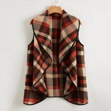 Ärmelloser Mantel mit Wassertropfen Kragen, Kontrast Bindung und Karo Muster