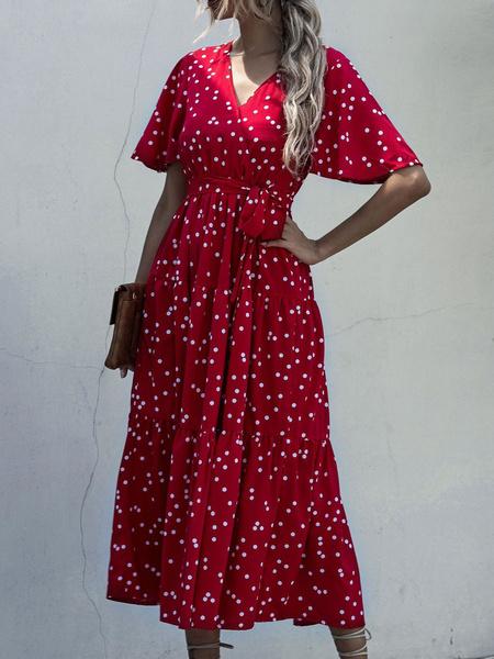 Milanoo Vestidos largos Mangas cortas Vestido de te de poliester con cuello en V rojo