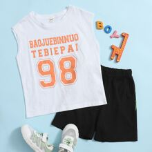 Boys Letter Graphic Tank Top & Track Shorts