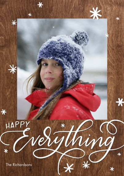 Christmas Photo Cards Mail-for-Me Premium 5x7 Flat Card, Card & Stationery -Holiday Happy Everything Stars by Tumbalina