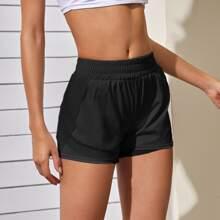 Einfarbige gefuetterte Sports Shorts