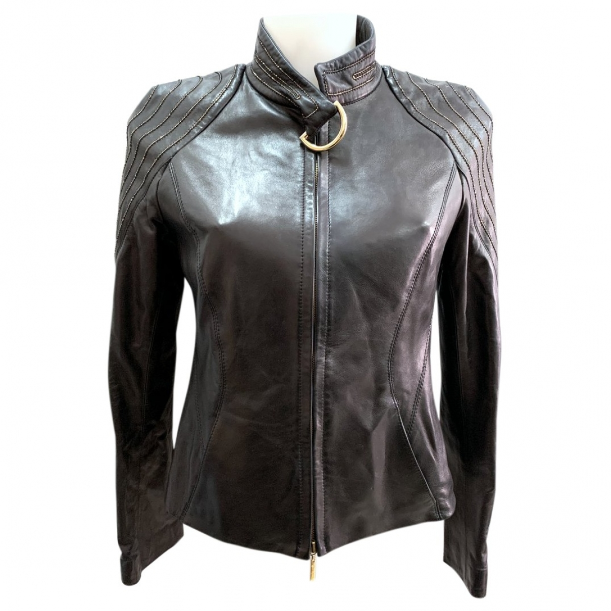 Roberto Cavalli \N Black Leather Leather jacket for Women S International
