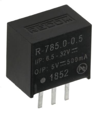 Recom Through Hole Switching Regulator, 5V dc Output Voltage, 6.5 → 32V dc Input Voltage, 500mA Output Current