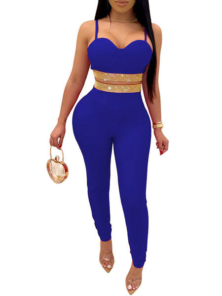 Milanoo Two Piece Sets Blue Polyester Rhinestones Casual Spring Straps Neck Outfit For Women