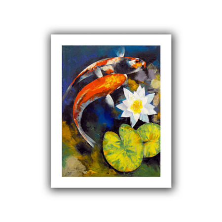 Brushstone Koi Fish and Water Lily Canvas Wall Art, One Size , Blue