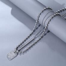 2 Stuecke Maenner Halskette mit geometrischem Anhaenger