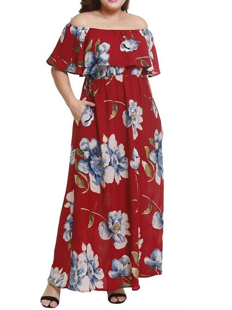 Ericdress Plus Size Print Ankle-Length Short Sleeve Off Shoulder High Waist Dress
