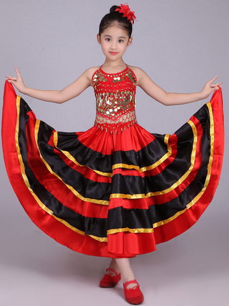 Milanoo Kids Belly Dance Costumes Red Flamenco Dress Paso Doble Costumes Spanish Skirt for Girls Halloween