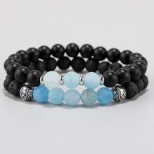 2 Stuecke Maenner Armband mit Perlen