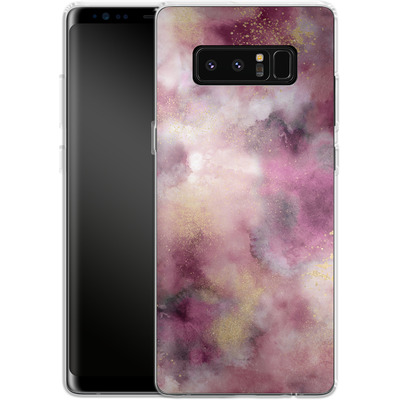 Samsung Galaxy Note 8 Silikon Handyhuelle - Smoky Marble Watercolor Pink von Ninola Design