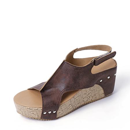Yoins Brown Peep Toe Rivet Design Wedge Sandals