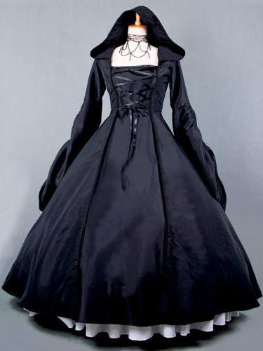 Milanoo Salem Witch Costume Victorian Poplin Long Sleeves Witch Dress Costume Halloween