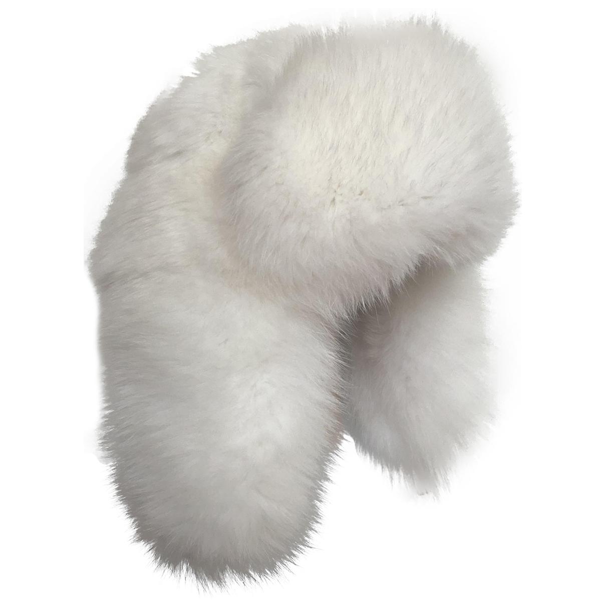 Moncler - Chapeau   pour femme en renard - blanc