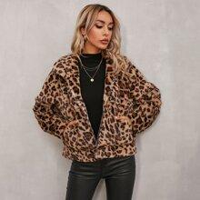 Flanell Jacke mit Leopard Muster und Reissverschluss