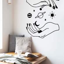 Pegatina mural con estampado de estrella y mano